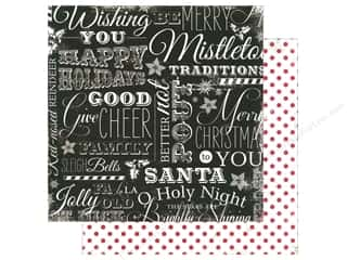 "Making Memories Paper 12""x 12"" Believe Holiday Word/Red Dot"