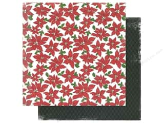 "Making Memories Paper 12""x 12"" Believe Poinsettia Floral/Diamond"