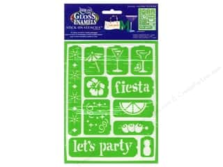 "Kid Crafts Party & Celebrations: DecoArt Stencil Americana Glass 6""x 8"" Party Time"