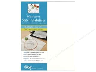 "Quilting Hoops 10"": C&T Wash-Away Stitch Stabilizer 8 1/2 x 11 in. 10 pc."