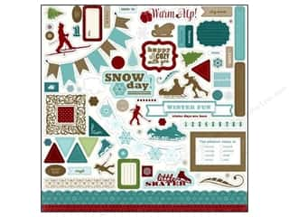 Carta Bella Winter: Carta Bella Sticker 12 x 12 in. Winter Fun Element (15 sets)
