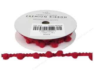 American Crafts Ribbon PomPoms 1/2&quot; Rouge 3yd