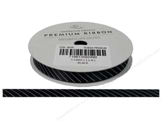 American Crafts Satin Ribbon Slant Stripe 3/8 in Black