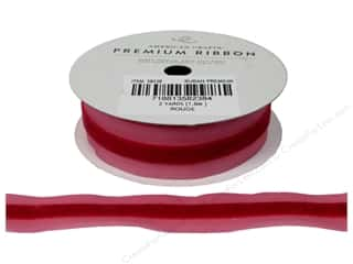 "American Crafts Ribbon Satin/Velvet Stp 7/8"" Rouge"