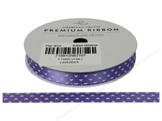 American Crafts Satin Ribbon Hearts 3/8 in. Lavender