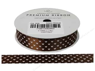 American Crafts Satin Ribbon with Hearts 5/8 in. Chestnut
