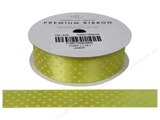 American Crafts Satin Ribbon with Hearts 7/8 in. Lemon