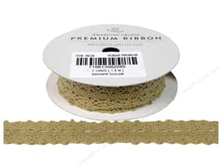 American Crafts Ribbon Lace Cro 3/4&quot; Brn Sugar 2yd