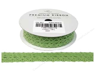 "American Crafts Ribbon Lace Crot 3/4"" Mint 2yd"