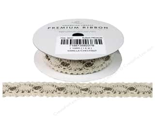 American Crafts $3 - $4: American Crafts Lace Crochet Ribbon 3/4 in. x 2 yd. Vanilla and Chestnut