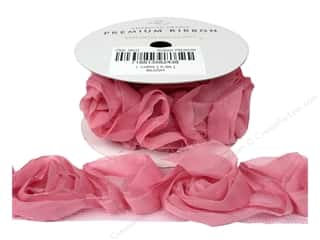 "American Crafts Ribbon Rose 1 1/2"" Blush 1yd"