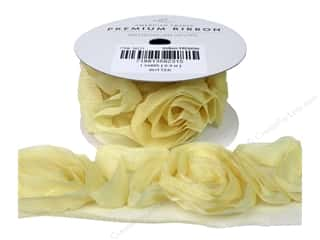 "American Crafts Ribbon Rose 1 1/2"" Butter 1yd"