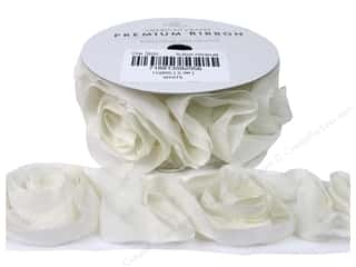 "American Crafts Ribbon Rose 1 1/2"" White 1yd"