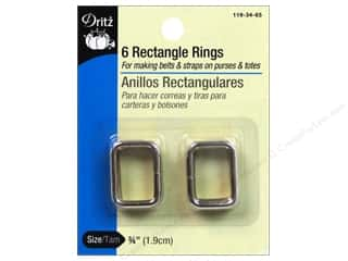 "Dritz Rectangle Ring .75"" Nickel 6pc"