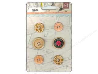 BasicGrey Wooden Buttons 6 pc. Lucille