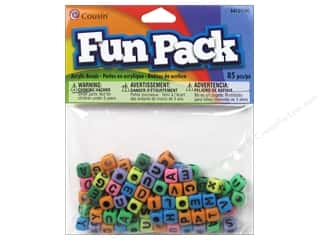 Novelty Items ABC & 123: Cousin Bead Fun Pack Alphabet Square Rainbow Mix 85pc