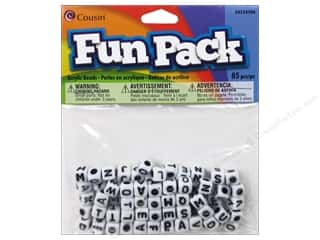 Children Black: Cousin Bead Fun Pack Alphabet Square White Mix 85pc