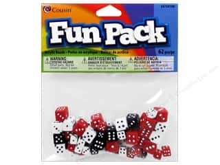 Children mm: Cousin Bead Fun Pack Dice 8-10mm Assorted 62pc