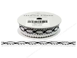 "American Crafts Ribbon Lace 3/4"" Black/White 2yd"