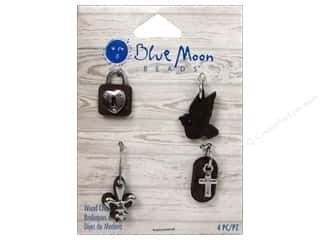 Blue Moon Beads Charms and Pendants: Blue Moon Beads Shell Charms Heart/Bird/Flower/Cross 4pc Silver