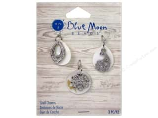 Blue Moon Beads Charms and Pendants: Blue Moon Beads Shell Charms Metal Design 3pc Silver