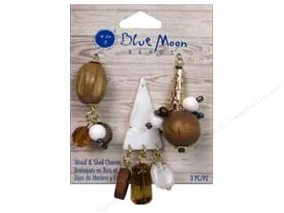 Blue Moon Beads Wood & Shell Charms Dangles 3pc Gold