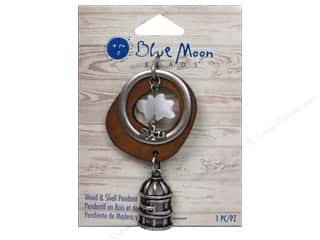 Blue Moon Beads Love & Romance: Blue Moon Beads Wood & Shell Pendant Oxidized Silver Birdcage with Shell Bird
