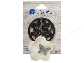 Chains Brown: Blue Moon Beads Wood & Shell Pendant Natural Shell Flower and Silver Butterfly