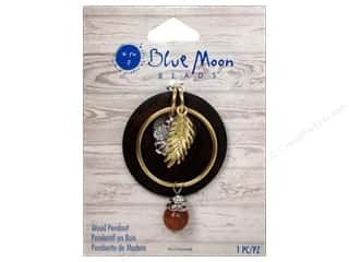 Clearance Blue Moon Pendant: Blue Moon Beads Wood Pendant Wood Round & Gold Metal Ring with Charms