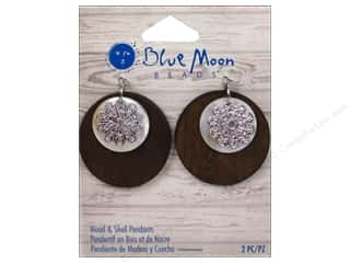 Licensed Products Blue Moon Wood & Shell: Blue Moon Beads Wood & Shell Pendant Wood & Shell Rounds with Silver Flower 2 pc.