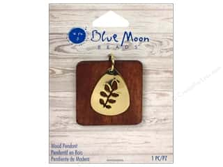 Licensed Products Blue Moon Wood & Shell: Blue Moon Beads Wood Pendant Wood Square with Gold Leaf Teardrop