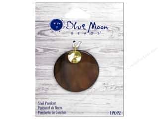 Chains Brown: Blue Moon Beads Shell Pendant Brown Shell Round with Gold Hope Charm