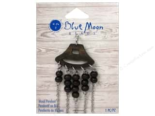 blue moon beads: Blue Moon Wood Pendant Wood with Silver Chain & Wood Bead Fringe