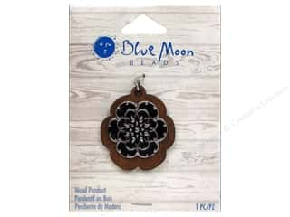 Blue Moon Pendant W&S Wood Metal Flower Black/Slv