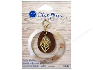 Charms and Pendants Blue: Blue Moon Beads Wood & Shell Pendant Shell Ring with Wood Drop and Gold Bird