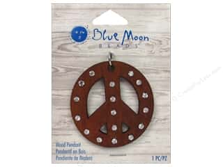 Licensed Products Blue Moon Wood & Shell: Blue Moon Beads Wood Pendant Wood Peace Sign with Rhinestone