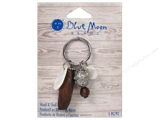 Clearance Blue Moon Pendant: Blue Moon Wood & Shell Pendant Ring with Wood, Shell & Silver Charms