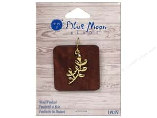 blue moon beads: Blue Moon Wood Pendant Wood Square with Gold Leaf