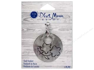 Clearance Blue: Blue Moon Beads Shell Pendant Grey Round Floral Engraved Shell