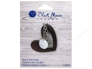 Clearance Blue Moon Pendant: Blue Moon Wood & Shell Pendant Wood Heart with Shell Dangle
