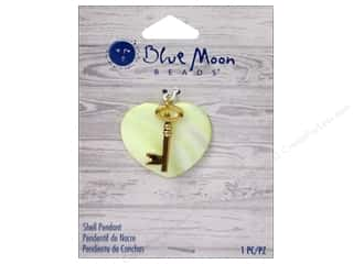 Beach & Nautical Blue Moon Beads Pendant: Blue Moon Beads Shell Pendant Shell Heart with Gold Metal Key