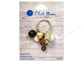 Mary's Productions $6 - $7: Blue Moon Beads Wood Pendant Gold Ring with Wood Charms