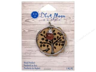 Blue Moon Wood Pendant Wood Tree Cut Out with Silver Ring