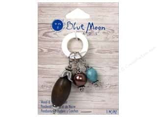 Blue Moon Wood & Shell Pendant Shell Ring with Charms