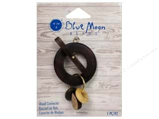 Drop Findings / Hoop Findings: Blue Moon Connector W&S Wood Toggle with Bead Gold