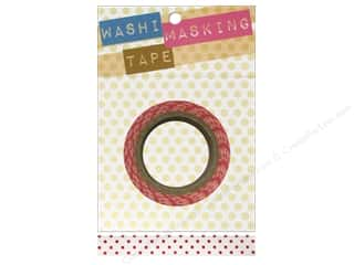 Darice Tape Washi Masking 5/8&quot; White with Red 8m