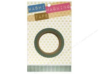 "clearance  > tape measure: Darice Tape Washi Masking 5/8"" Short StripeGrn/Wht"