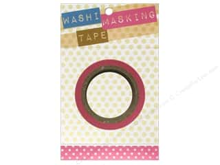 "Glues, Adhesives & Tapes Darice Tapes: Darice Tape Washi Masking 5/8"" Pink with White 8m"