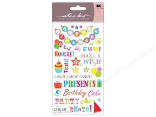 Birthdays Stickers: EK Sticko Stickers Birthday Phrases