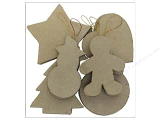 Paper Mache Ornaments Assortment Kraft 12pc